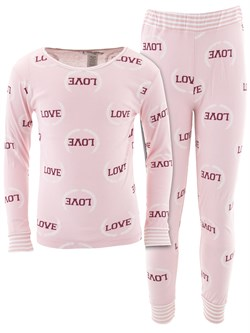 Image of Love Pink Cotton Pajamas for Girls