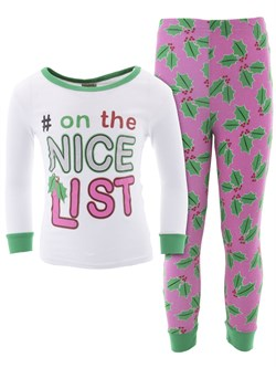 Image of On The Nice List Cotton Pajamas for Baby and Toddler Girls
