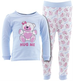 Image of Blue Hug Me Cotton Pajamas for Infant Toddler Girls