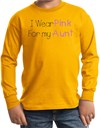 Breast Cancer Kids Long Sleeve T-shirt - I Wear Pink For My Aunt Gold