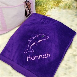 Personalized Kids Beach Towel with Dolphin Design