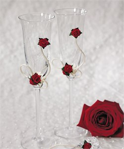 Flower of Love In Romantic Red Wedding Toasting Set